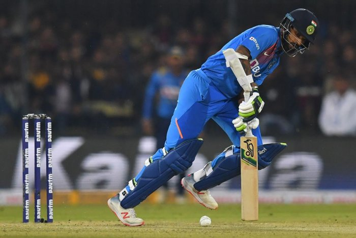 The hosts rode a 71-run opening stand between KL Rahul, who hit 45, and Shikhar Dhawan, who made 32, to chase down their target of 143 in 17.3 overs and take a 1-0 lead in the three-match series after the first match was rained off. Photo/AFP