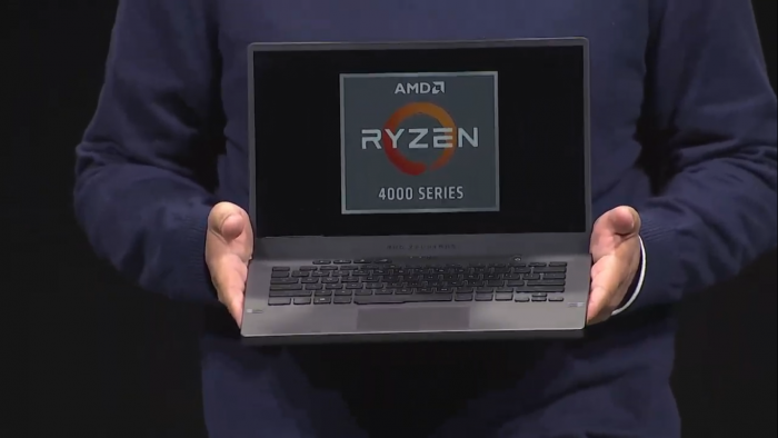 AMD's Frank Azor showcases the Asus Zephyus G14, powered by AMD's Ryzen 4800H