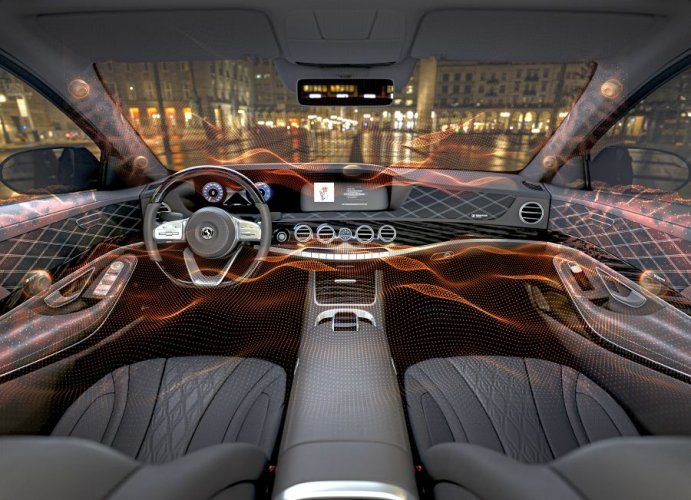 This new system exhibited at the Consumer Electronics Show 2020 works by exciting select surfaces in the vehicle interior to produce sound. (Credit: CES)