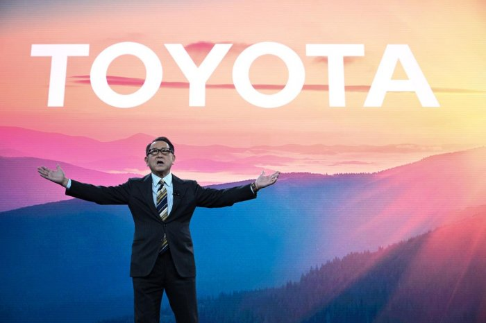 Toyota President and CEO Akio Toyoda speaks on January 6, 2020 at the Toyota press conference at the 2020 Consumer Electronics Show (CES) in Las Vegas, Nevada.