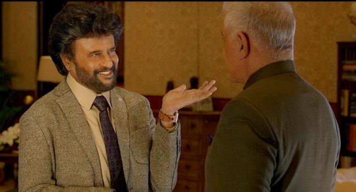 A scene with Rajinikanth in the film 'Darbar'. Credit: DH Photo