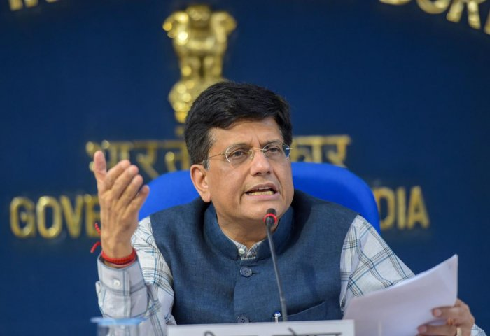 Union Minister for Railways, Coal and Finance Piyush Goyal addresses a press conference after the Cabinet meeting in New Delhi on Wednesday. PTI Photo