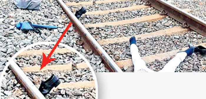Suresh was mowed down by a train after his shoe got stuck under the track.