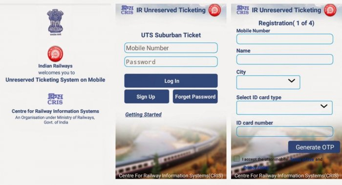 A view of the Railway's UTS mobile app
