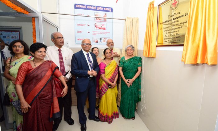 Anuradha Gopal Pai of Pai Family Foundation inaugurates 'Dhwani', the newborn hearing assessment centre, at Government Lady Goschen Hospital in Mangaluru on Tuesday.
