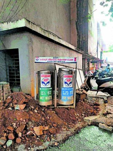 The twin litter bins are an obstruction in Bejai in Mangaluru city.
