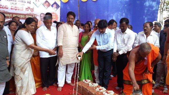 Revenue Minister R Ashoka, Housing Minister V Somanna, MP Shobha Karandlaje and DC Jagadeesha take part in the foundation stone for Mini Vidhana Soudha construction at Brahmavar on Wednesday.