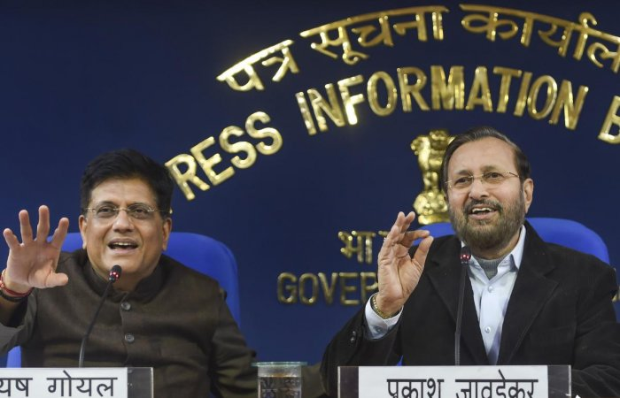 Union Ministers Prakash Javadekar and Piyush Goyal brief the media on cabinet decisions at PIB conference hall