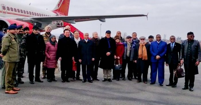 US envoy to India Kenneth I Juster and other diplomats from 16 countries on their arrival at the airport in Srinagar, Thursday, Jan. 9, 2020. Credit: PTI