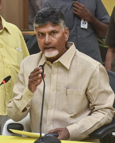 TDP president and outgoing chief minister Chandrababu Naidu addresses press conference after general election 2018 results, at Undavalli in Andhra Pradesh, May 23, 2019. (PTI Photo)
