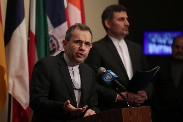 Iranian Ambassador to the United Nations Majid Takht-Ravanchi speaks to the media. (REUTERS photo)