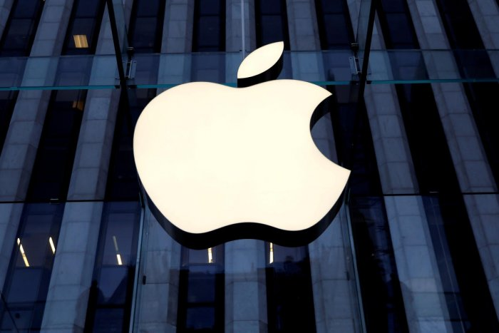 The Apple Inc. logo is seen hanging at the entrance to the Apple store on 5th Avenue in New York. (Credit: Apple)