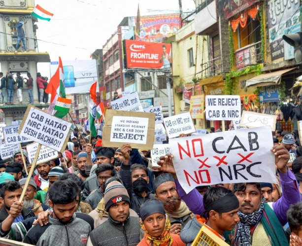 An anti-CAA protest underway. Photo: PTI/Representation