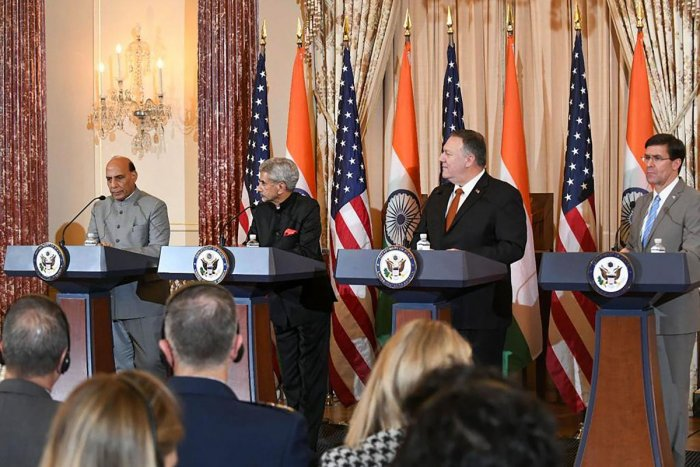 Defence Minister Rajnath Singh speaks at a joint press conference after the conclusion of India-US 2+2 dialogue in Washington, Wednesday, Dec. 18, 2019. Also seen are (L-R) External Affairs Minister S Jaishankar, US Secretary of State Michael Pompeo and US Secretary of Defense Mark Esper. (PTI Photo)