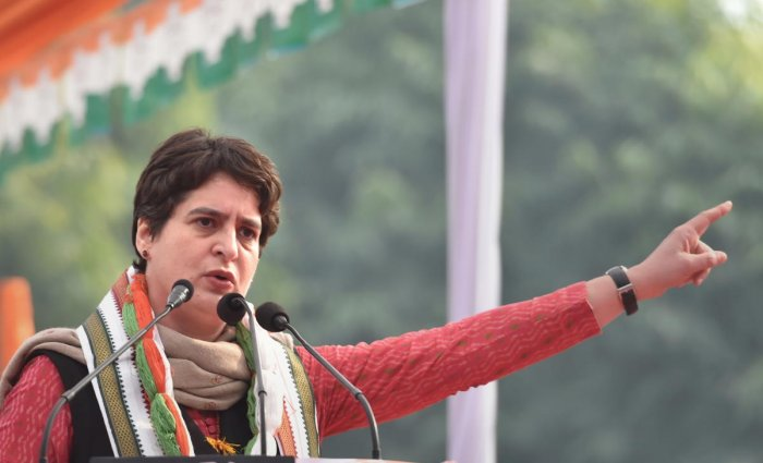 AICC general secretary Priyanka Gandhi Vadra addresses on party's 135th foundation day at UPCC HQ in Lucknow, Saturday, Dec. 28, 2019. (PTI Photo/Nand Kumar)