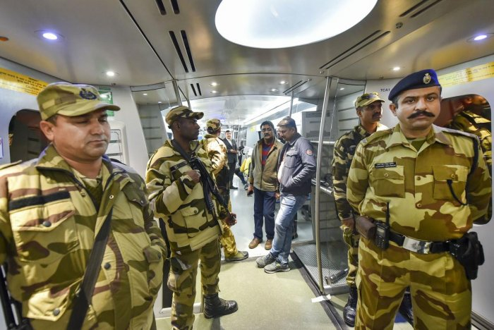 CISF inside Delhi metro train coaches. (PTI Photo)
