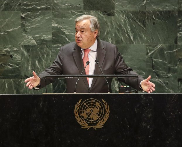 """""""We must not forget the terrible human suffering caused by war"""", says the UN chief, indicating to a war unaffordable by the world. (AFP Photo)"""