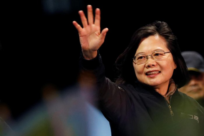 Taiwan's President Tsai Ing-wen attends a campaign rally ahead of the presidential election. (REUTERS photo)