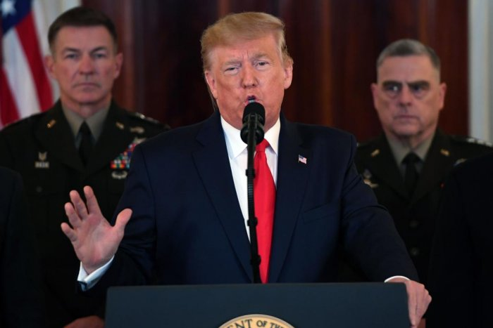 US President Donald Trump speaks about the situation with Iran in the Grand Foyer of the White House in Washington, DC, January 8, 2020. (Photo by SAUL LOEB / AFP)