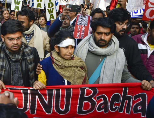 Aishe Ghosh and other students during a protest march from Mandi House to HRD Ministry, demanding the removal of the university vice-chancellor, in New Delhi. (PTI Photo)