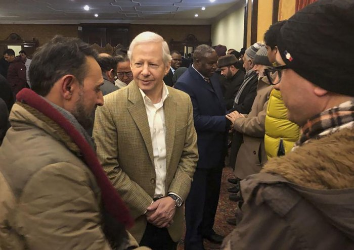 US envoy to India Kenneth I Juster and other diplomats meet with civil society members during their visit to Kashmir, in Srinagar. (PTI Photo)