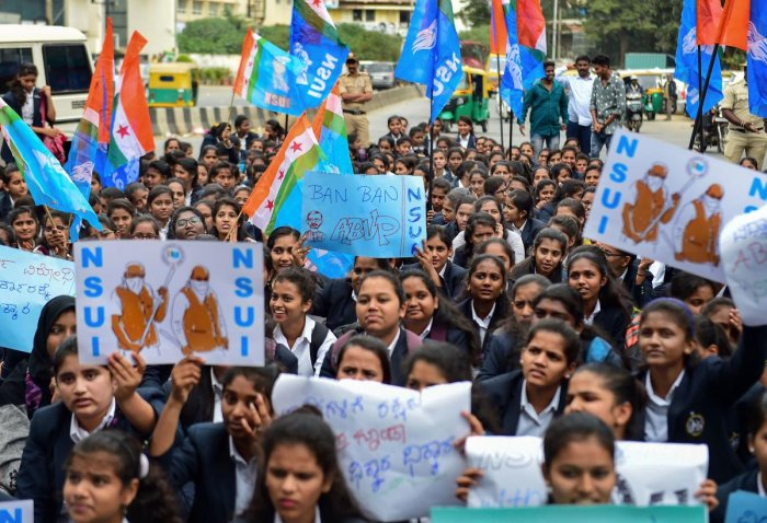 Following Wednesday's protest staged at college and university campuses, the NSUI had declared plans to hold a mega students' rally after January 12. Credit: PTI File Photo