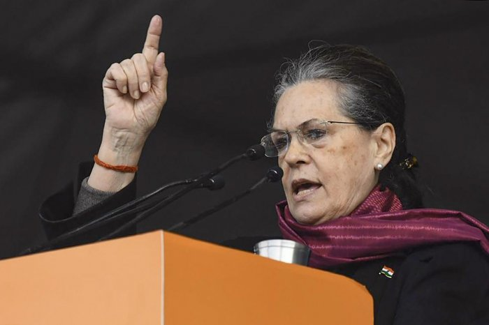 The Congress Working Committee (CWC) deliberations also come ahead of a joint strategy meeting planned by the opposition parties on Monday to corner the Modi government on the implementation of the CAA and the planned updation of the National Population Register. Credit: PTI