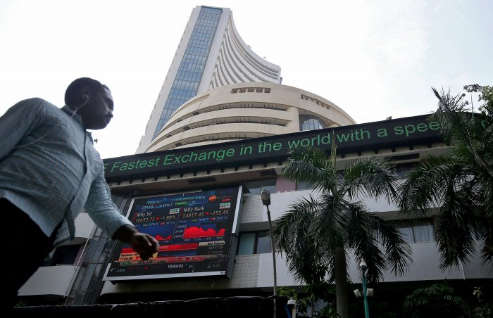 A man walks past the Bombay Stock Exchange (BSE) building in Mumbai. (Reuters Photo)