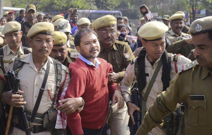 Gogoi, the chief adviser of the Krishak Mukti Sangram Samiti (KMSS), had been remanded to 14 days of judicial custody on December 26 by the NIA court. Credit: PTI