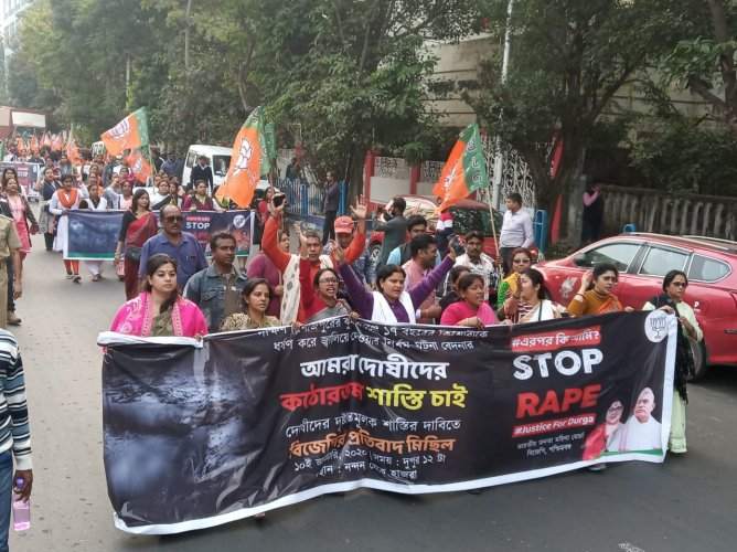 The rally, which commenced from Nandan area - the city's cultural hub - was led by West Bengal BJP Mahila Morcha president and MP Locket Chatterjee and the party's general secretary Raju Banerjee. Credit: Twitter (@BJP4Bengal)