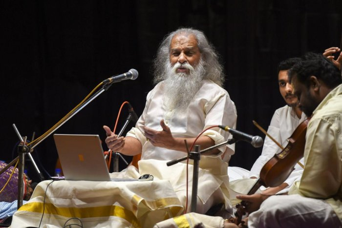 Playback singer K J Yesudas during a concert on the occasion of Tamil month 'Margazhi' music season, in Chennai, Thursday, Jan.03, 2019. (PTI Photo)