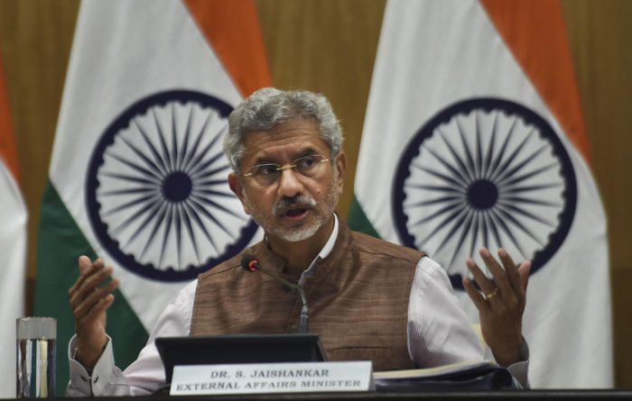 External Affairs Minister S Jaishankar during a press conference on completion of first 100 days of MEA in the present government, in New Delhi, Tuesday, Sept. 17, 2019. (PTI Photo)