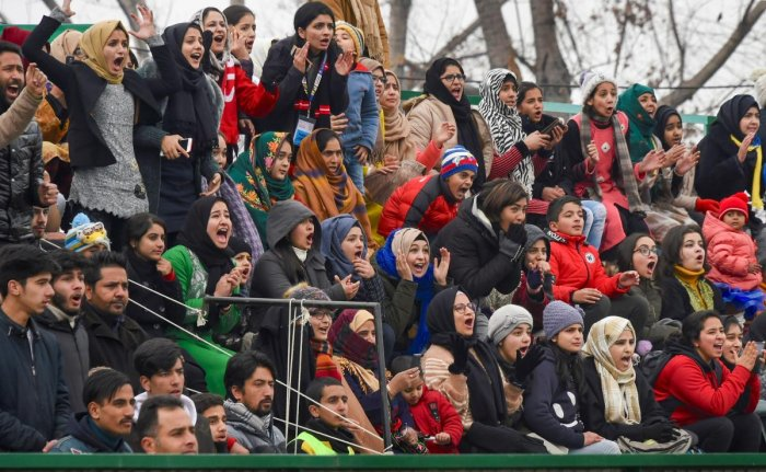 Real Kashmir FC supporters react during I-League match in Srinagar. (PTI Photo)