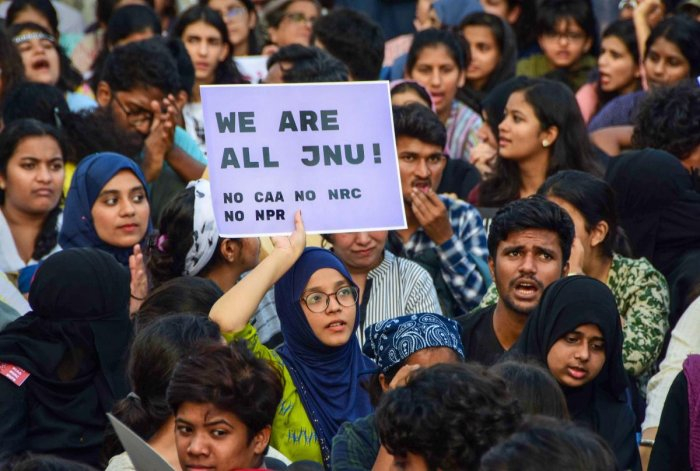 Photo of JNU students and activists protesting against CAA (PTI Photo)