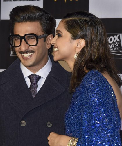 Bollywood actors Deepika Padukone Ranveer Singh at the special screening of film Chhapaak, in Mumbai, Wednesday night, Jan. 8, 2020. (PTI Photo)