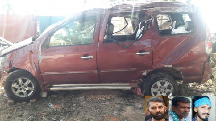(Inset from left) Akshay, Monappa and Kishan were killed after their SUV rammed into an electric pole near Gudemaranahalli on Wednesday. DH photo