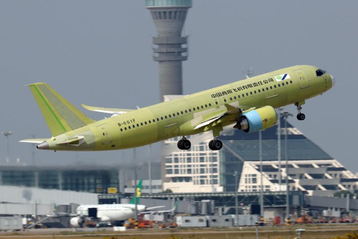 The fifth prototype of China's home-built C919 passenger plane takes off for its first test flight from Shanghai Pudong International Airport in Shanghai, China October 24, 2019. (Reuters Photo)