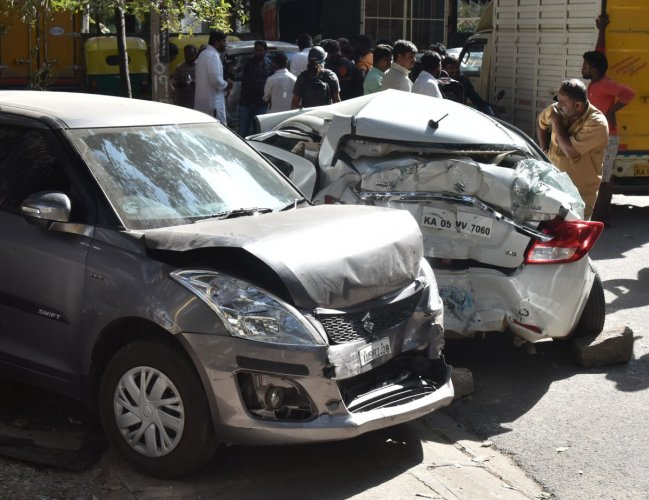The damaged cars after serial accident in between BMTC buses and cars at BTM layout near Bannerghatta road in Bengaluru on Friday, January 10, 2020. During the incident two buses, four cars and three TATA ace damaged, no one injured. Photo by Janardhan B K