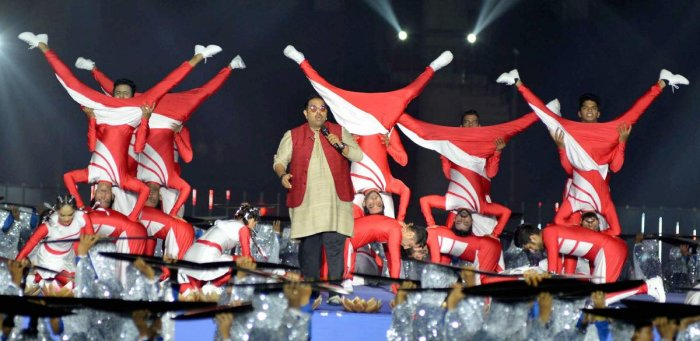 Singer Shankar Mahadevan performs at the opening ceremony of the 3rd Khelo India Youth Games 2020 in Guwahati on Friday. PTI