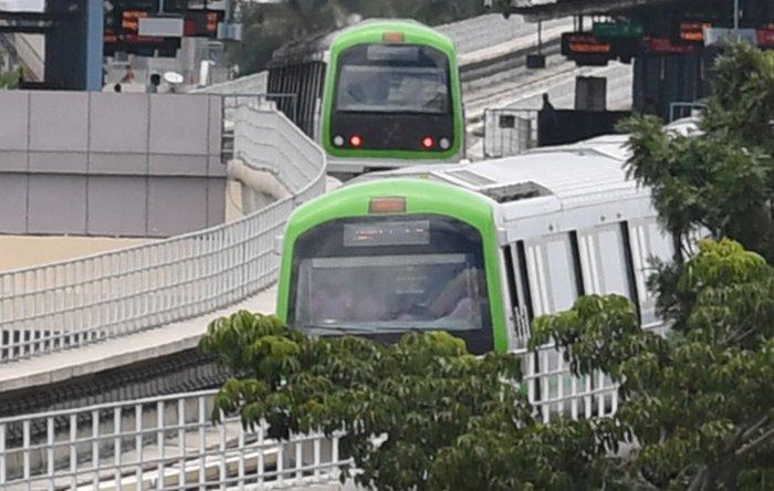 Trail running of Namma Metro Green Line. (DH Photo)