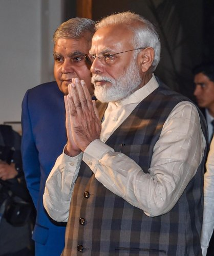 Prime Minister Narendra Modi arrives to unveil an art installation during inauguration of 'Ghare-Baire'- an exhibition of art in Bengal from 18th till 20th century, in Kolkata. PTI