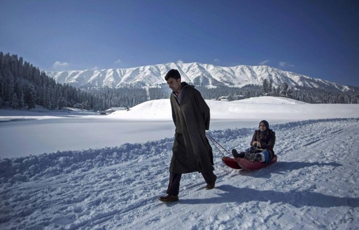 Gulmarg recorded a low of minus 13 degrees Celsius and its maximum temperature also remained below zero mark at 1.8 degrees Celsius. (PTI Photo)