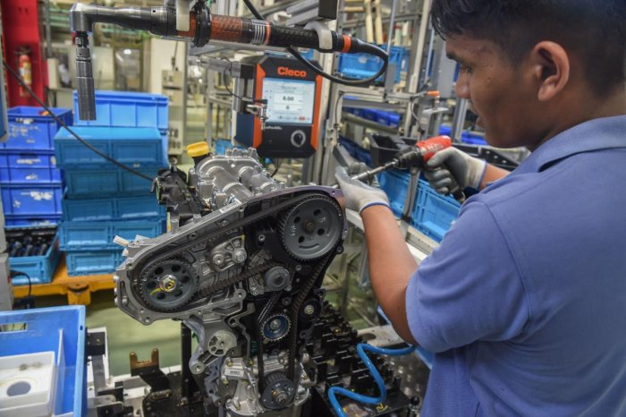 Industrial production has returned to positive territory after three months. AFP file