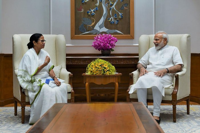 Prime Minister Narendra Modi during a meeting with West Bengal Chief Minister Mamata Banerjee, in New Delhi, Wednesday, Sept. 18, 2019. (Twitter Photo/@PMOIndia)
