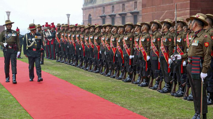 New Delhi: Outgoing Indian Army Chief General Bipin Rawat, who has been appointed as India's first Chief of Defence Staff (CDS), inspects a guard of honour in New Delhi. (PTI Photo)