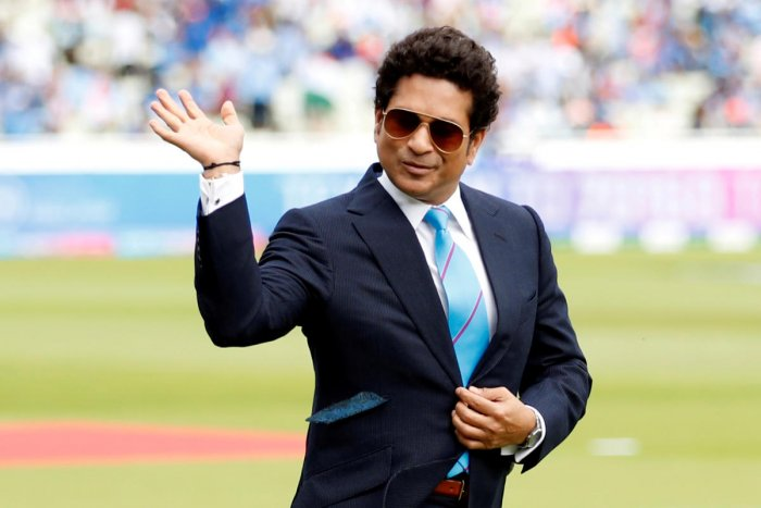 Sachin Tendulkar on the pitch before the match of England v India in ICC Cricket World Cup June 30, 2019. Reuters photo