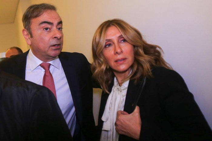 Former Renault-Nissan boss Carlos Ghosn with his wife Carole. (AFP Photo)