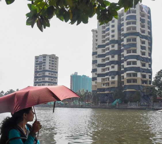 A view of the twin-tower flats at Alfa Serene complex which would be demolished January 11, at Maradu in Kochi, Thursday, Jan. 9, 2020. (PTI Photo)