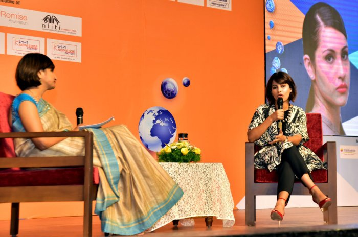 Ace shooter Heena Sidhu speaks during an interaction at the fourth edition of 'Knowledge Factory' at St Agnes College in Mangaluru on Friday.