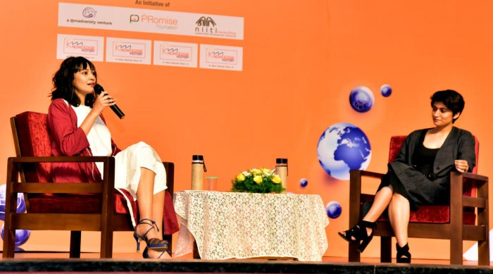 Supermodel and actor Dipannita Sharma speaks on sustainable fashion with Kriti Tula, founder of India's first zero waste fashion brand, at the fourth edition of 'Knowledge Factory' at St Agnes College in Mangaluru on Friday.